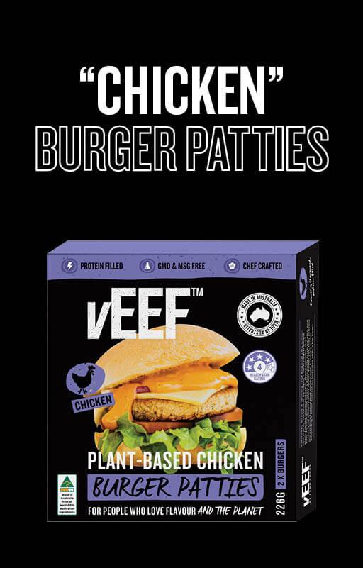 """Explore vEEF """"Chicken"""" Burger Patties Product"""