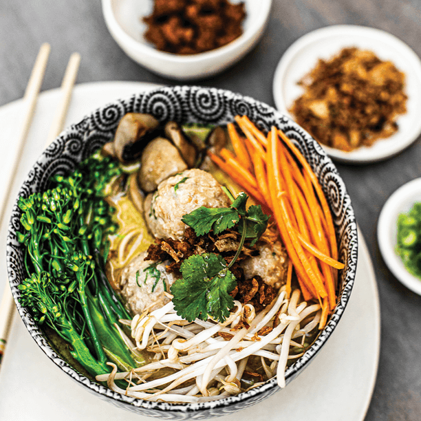 vEEF Mince Asian Meatballs with Noodle Soup