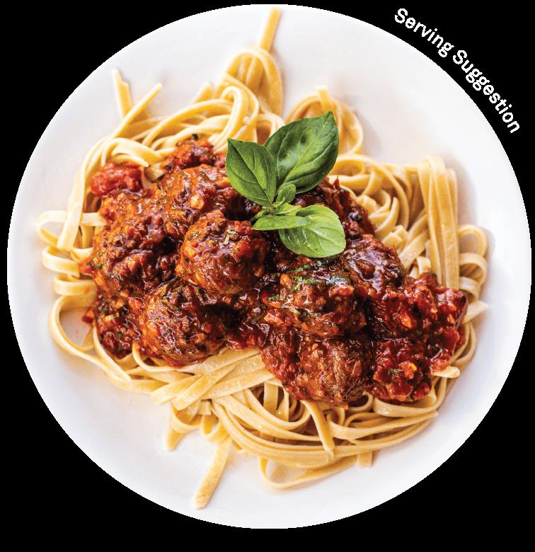 vEEF Meatballs in Tomato Sauce Dish